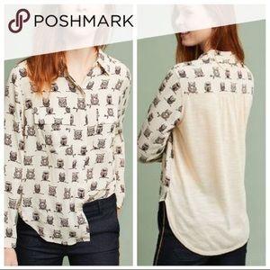 Anthropologie Porridge Owl Button-Down Shirt